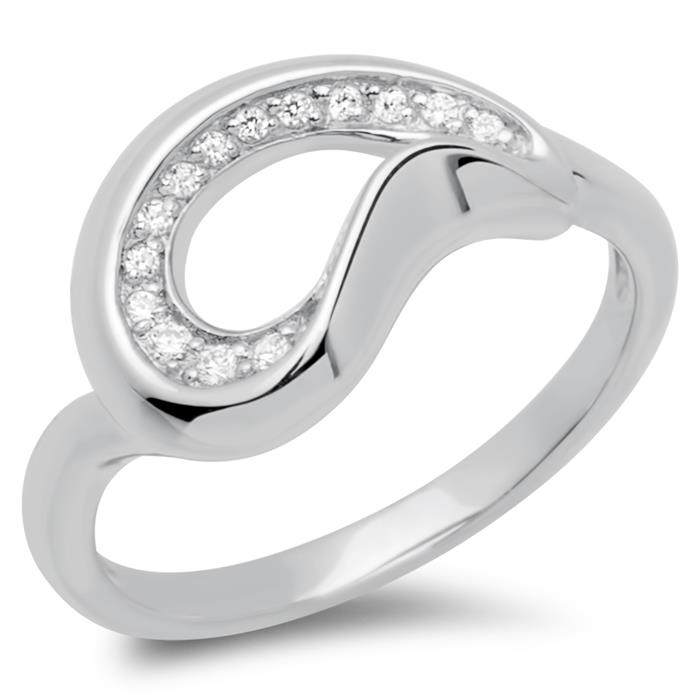 925 Ring Verschlungen mit Zirkonia