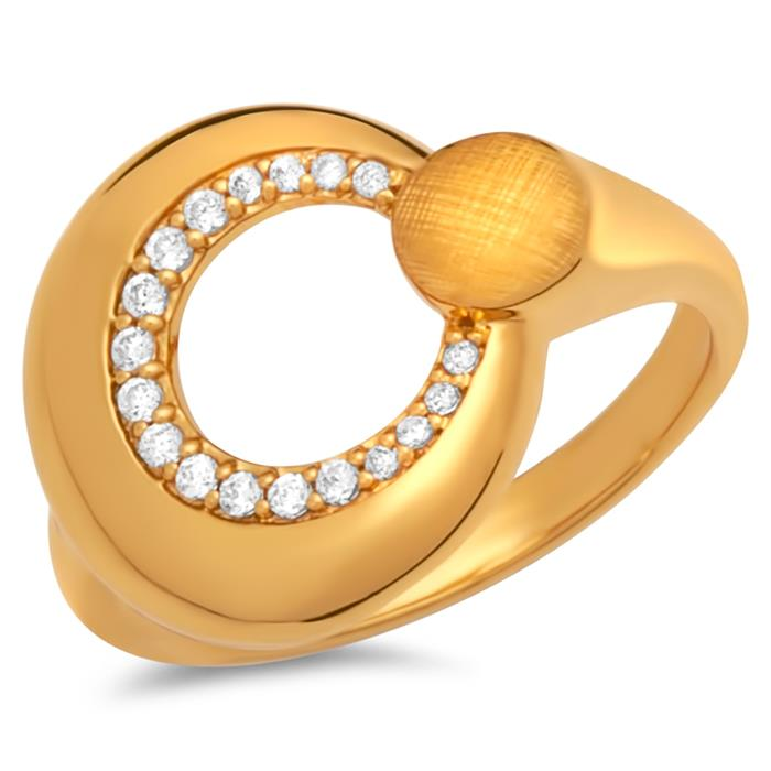 Modischer Silberring vergoldet Zirkonia