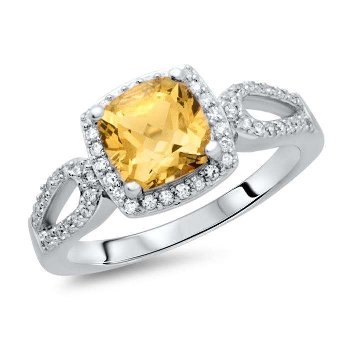 Moderner Ring 925 Silber Zirkonia Citrin