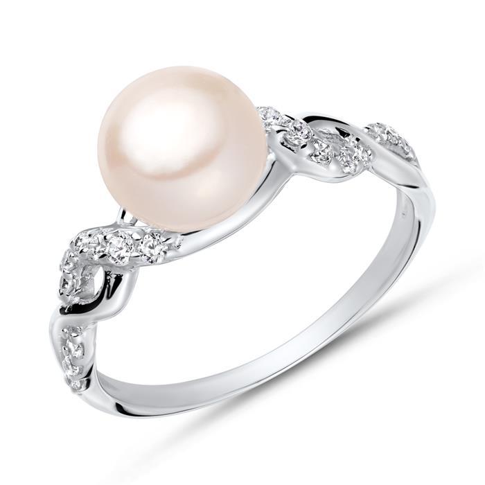 Moderner Ring 925 Silber Zirkonia Perle