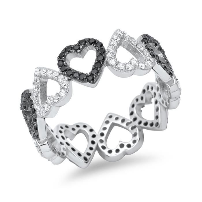 925er Silberring im Herzdesign mit Steinbesatz
