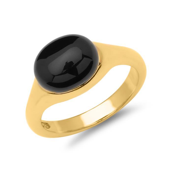 Vergoldeter 925er Silberring mit Onyx-Stein