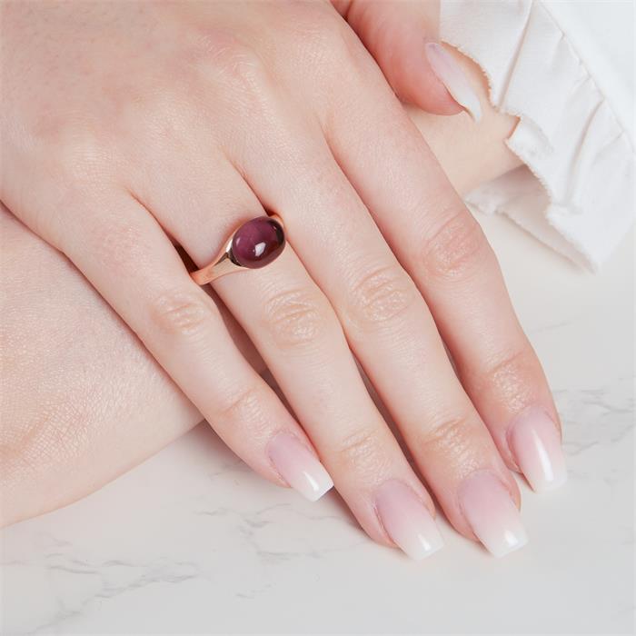 925er Silber Ring vergoldet mit Amethyst