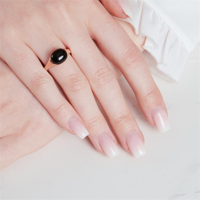 Rosévergoldeter Sterling Silberring mit Onyx