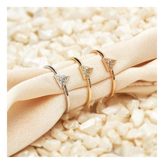 Ring Pyramide Zirkonia Silber rosévergoldet
