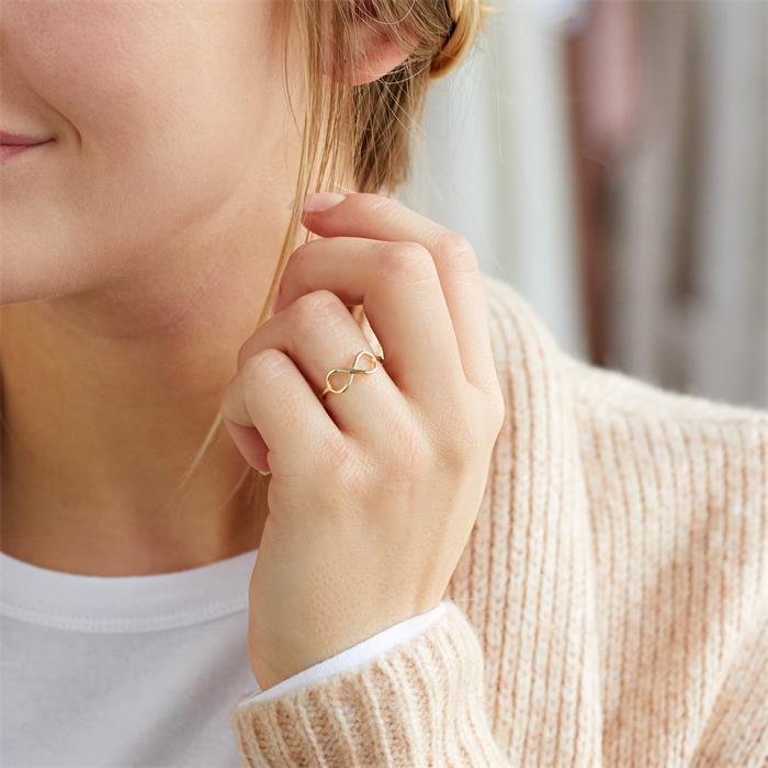 Ring Unendlichkeitssymbol 925er Silber vergoldet