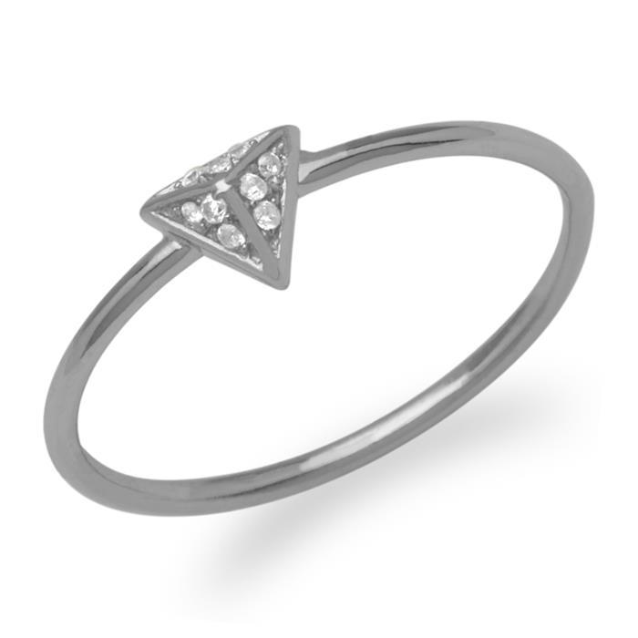 Filigraner Ring Pyramide Zirkonia 925er Silber