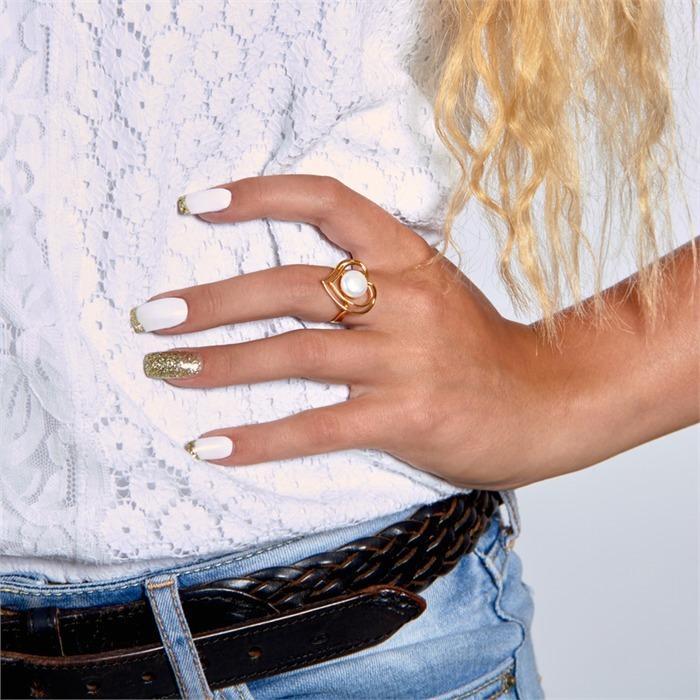 Silberring mit Herzmotiv 925er Silber vergoldet
