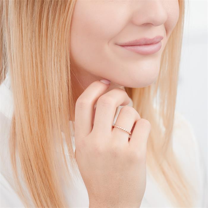 Roségoldener Ring 925er Silber Zirkoniabesatz