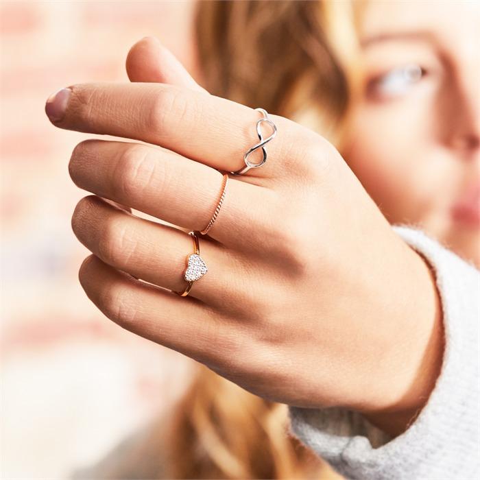 Roségoldener Ring gedrehtes Design 925er Silber