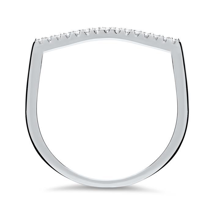 U-förmiger Ring 925er Silber rhodiniert Zirkonia