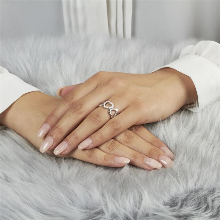 Ring 925 Silber rhodiniert Herzen Zirkonia