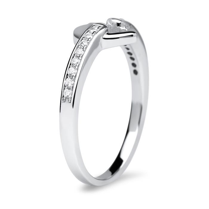 925er Sterling Silber Ring Zirkonia Herz