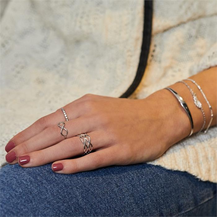 Damen Hipster Ring verflochten 925er Silber