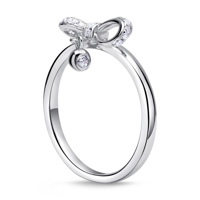 925er silber Ring Schleife mit Zirkonia