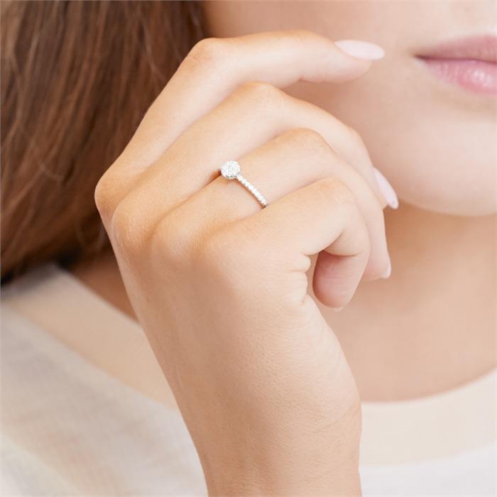 Klassischer 925er silber Ring mit Zirkonia