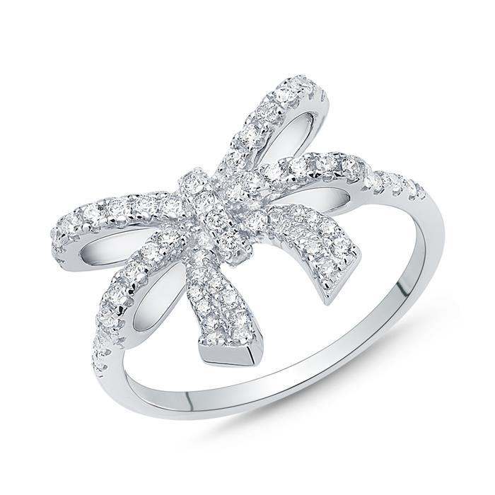 Ring 925er Silber Schleife Zirkonia