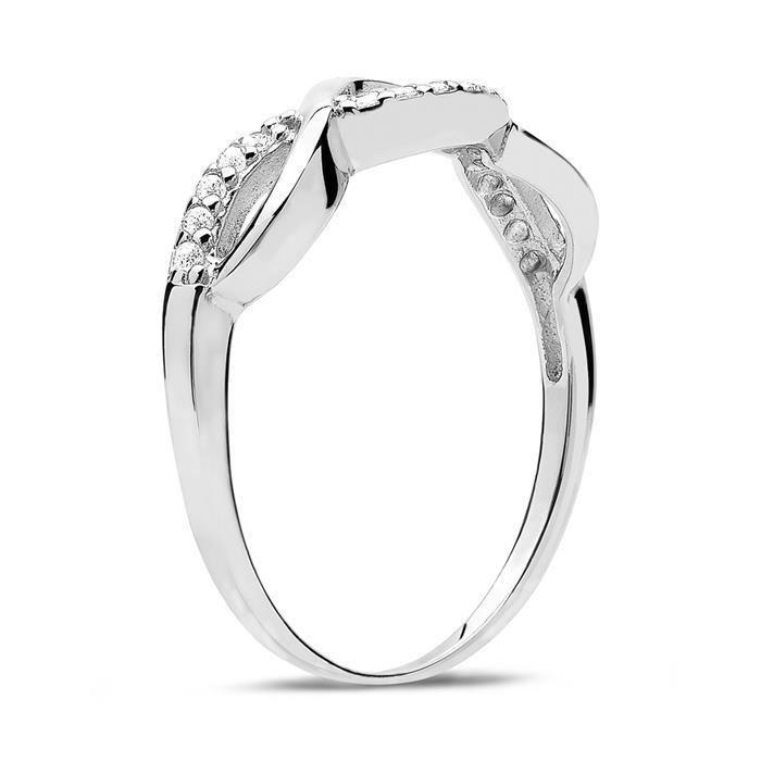 Ring für Damen 925er Silber mit weißen Zirkonia