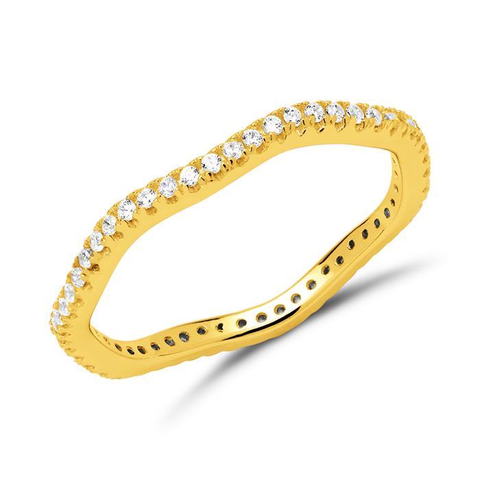 Ring 925er Silber vergoldet mit Zirkoniasteinen