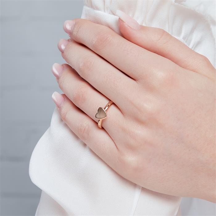 Damenring Herz 925er Silber rosévergoldet