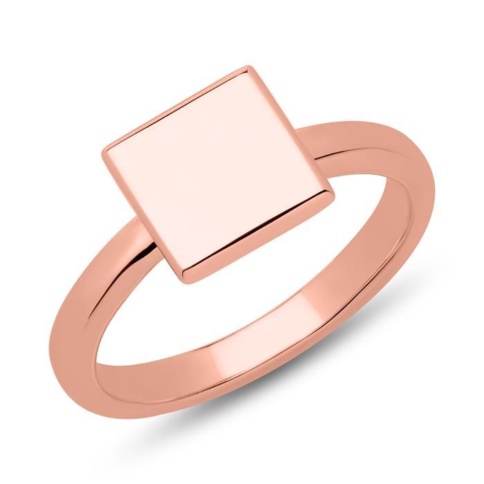 Ring Quadrat Sterlingsilber roségold gravierbar