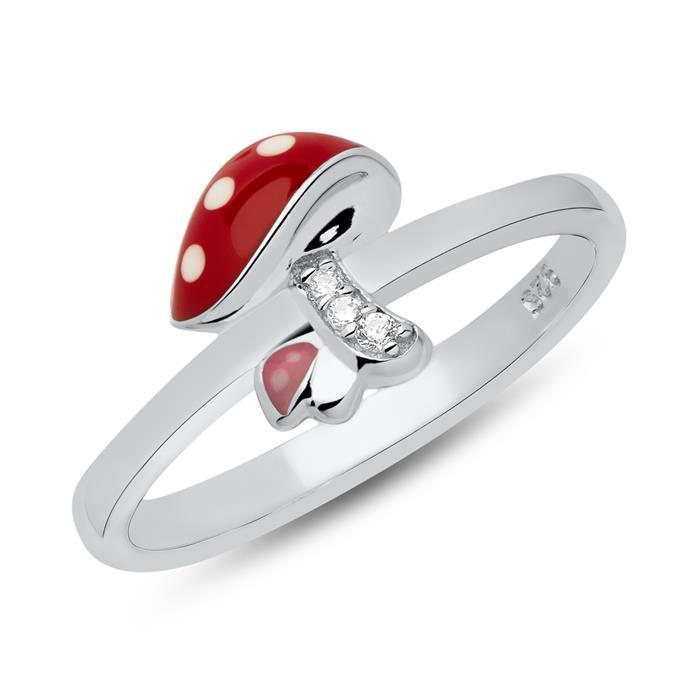 Ring Fliegenpilz 925er Silber Zirkonia