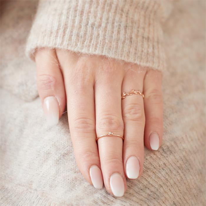 Ring Blätterranke aus 925er Silber rosévergoldet