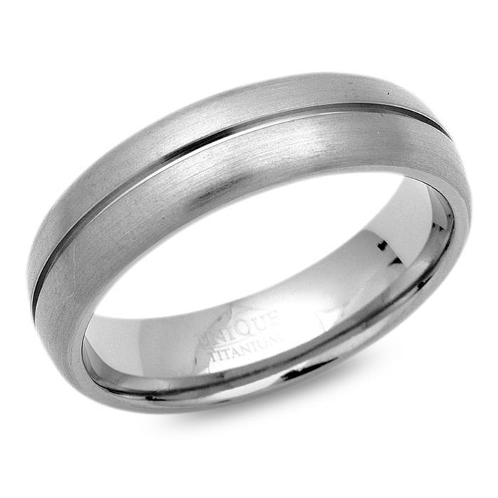 Ring Titan 6mm Breite matt Glanzrille