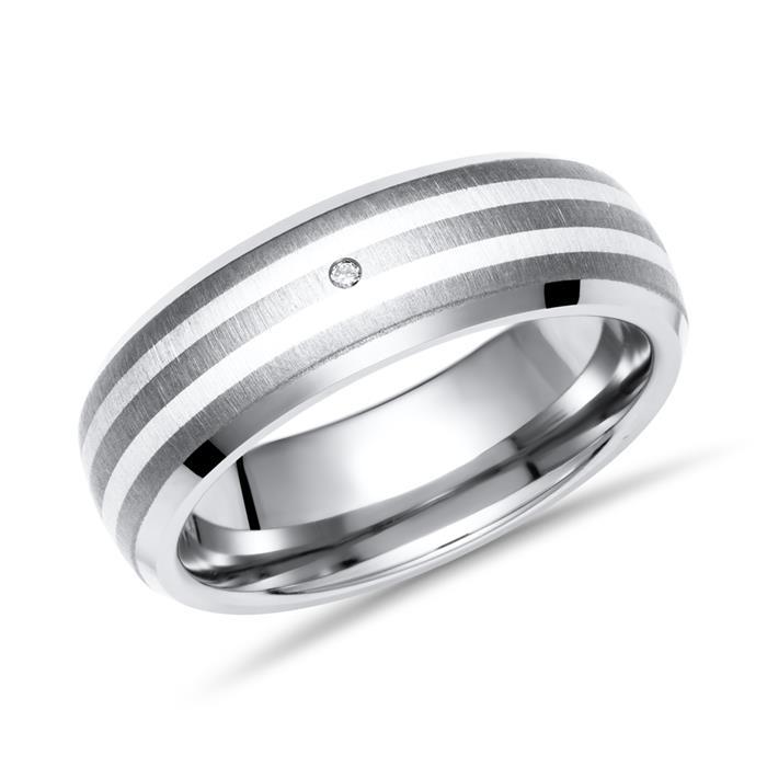 Moderner Ring Titan Einlage Silber & Brillant