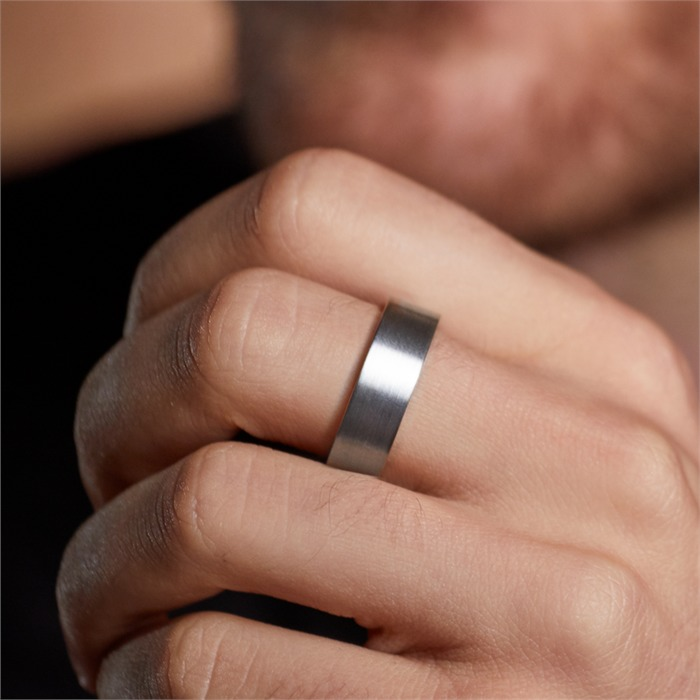 Schlichter matter Ring Titan in 7mm Breite