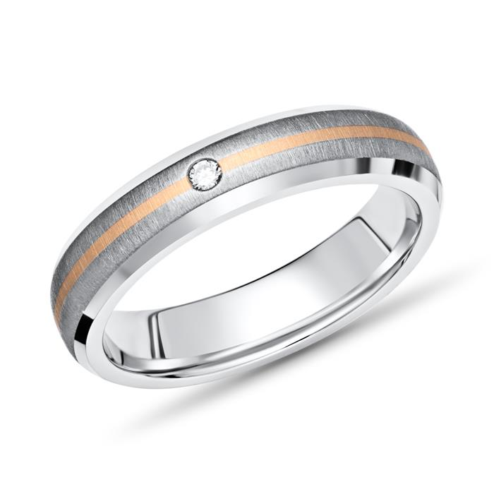 Exklusiver Ring Titan Einlage Gold 4mm & Diamant