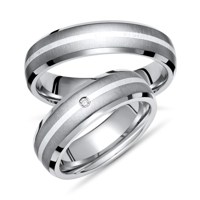 Unique Trauringe Titan Silber Eheringe Diamant TR0058s