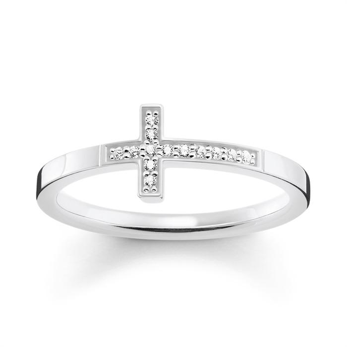 Ring Kreuz Silber Zirkonia