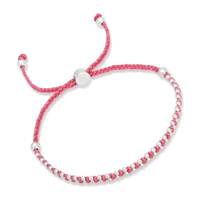 Pinkfarbenes Textilarmband mit Silberelementen