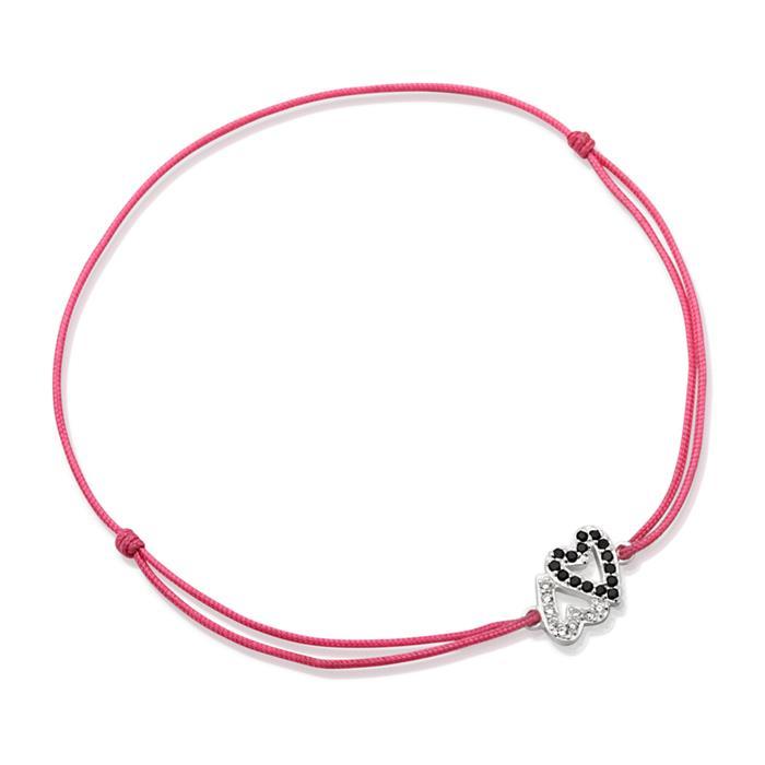 Pinkfarbenes Textilarmband mit Silberelement