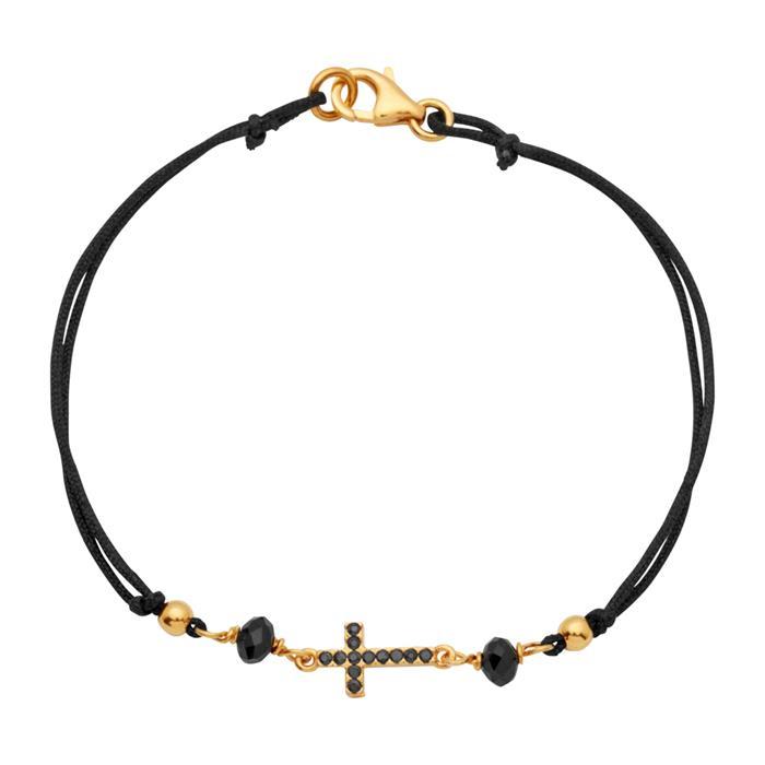 Armband vergoldet Kreuz schwarze Zirkonia