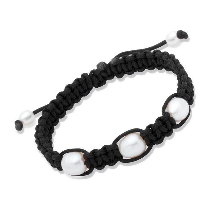 Schwarzes Textilarmband mit weißen Perlen