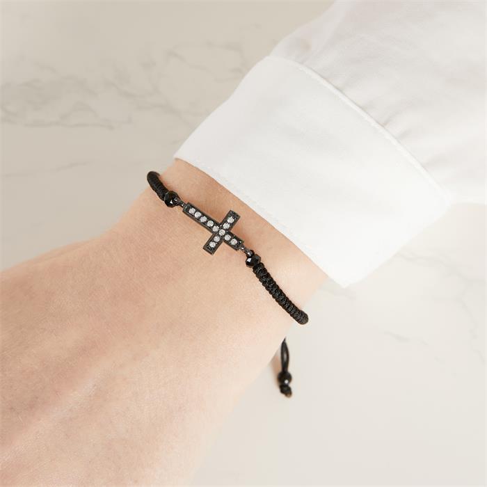 Textilarmband geschwärzter Silberanhänger Kreuz