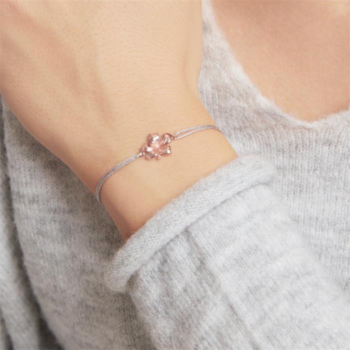 Hibiskus Armband aus grauem Textil und 925er Silber