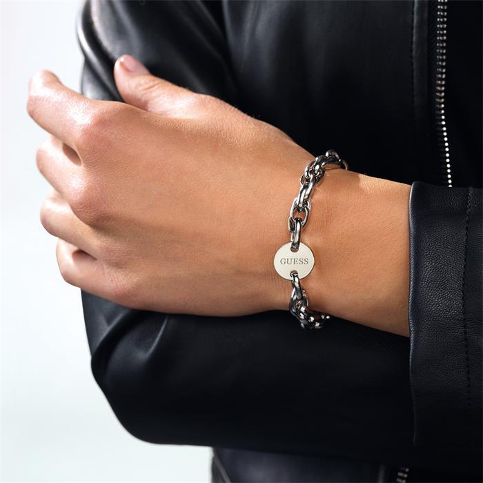 Guess Damen Armband Armkette Edelstahl schwarz Perlen