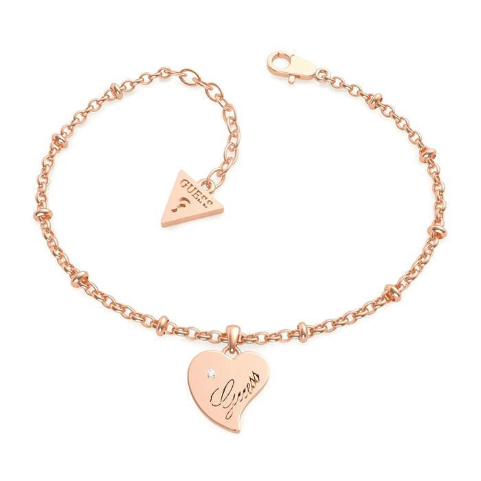 Ladies Heart Bracelet, Stainless Steel, Rosé, Engravable