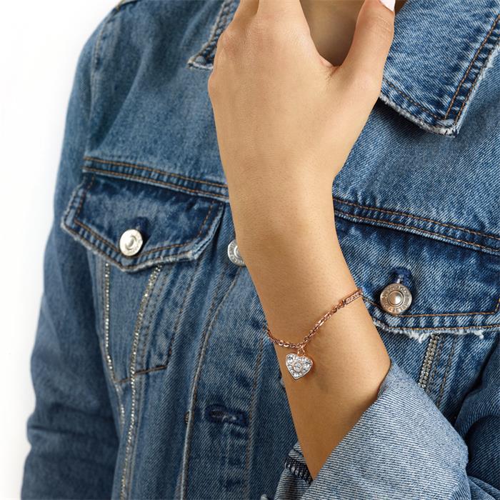 Armband Herz für Damen aus Edelstahl, rosévergoldet