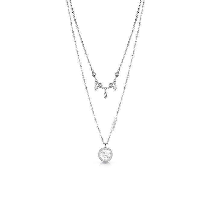 Layerkette für Damen aus Edelstahl Swarovski Kristalle