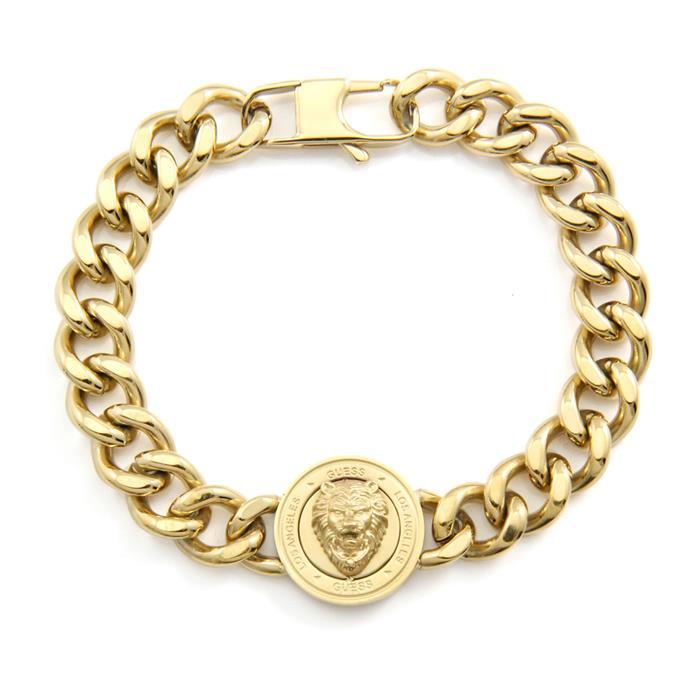 Panzerarmband Löwenkopf für Herren aus Edelstahl, gold