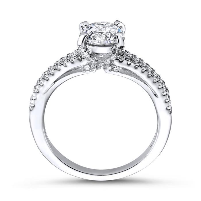 Hochwertiger Verlobungsring Silber Zirkonia