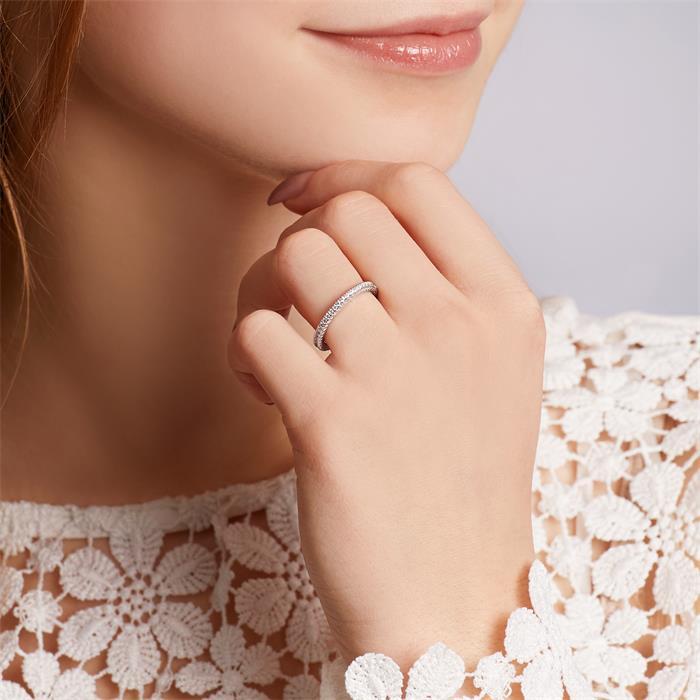 Verlobungsring Silber mit Steinbesatz