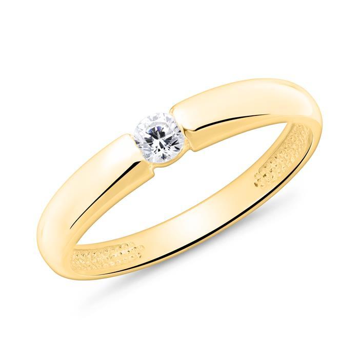 Verlobungsring aus 9K Gold mit Zirkoniastein