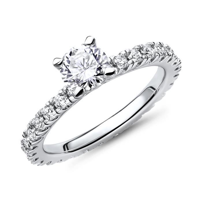 Steinbesetzter Verlobungsring 925er Silber