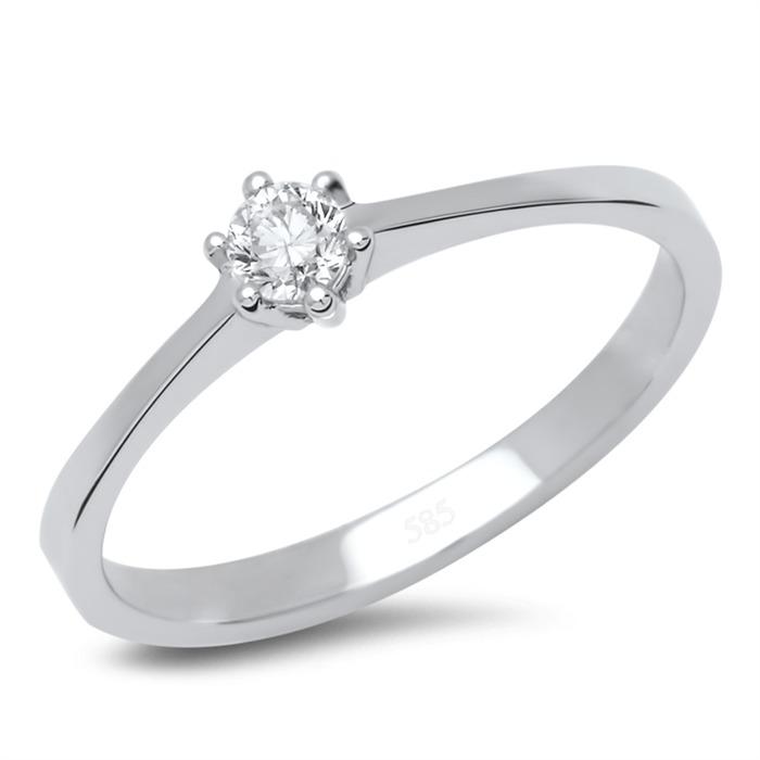 14K Weißgold Verlobungsring mit Diamant 0,15 ct.