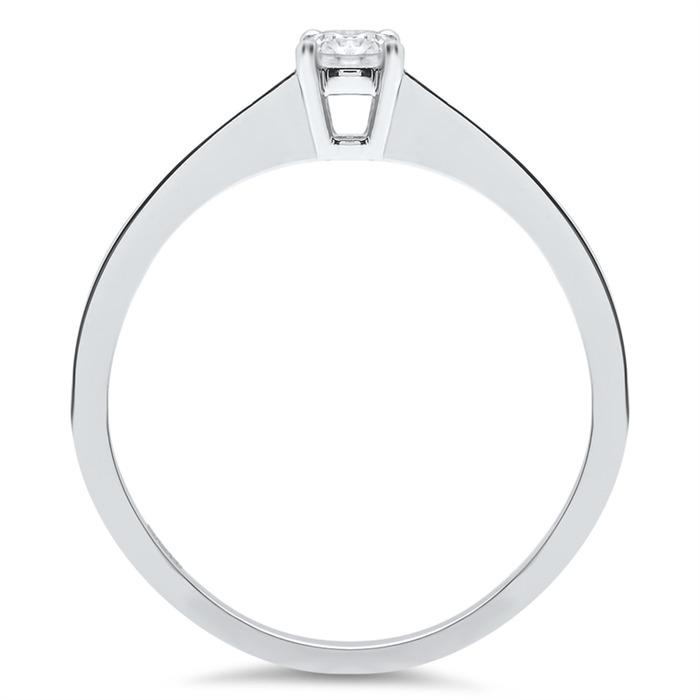 585 Weißgold Verlobungsring mit 0,2 ct. Diamant